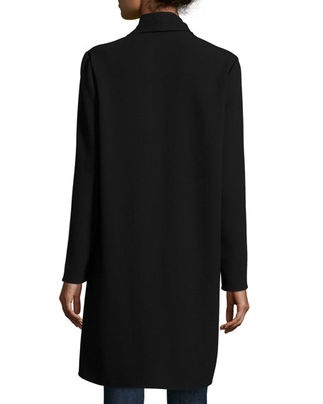 Coley Long Silk Topper Coat, Black