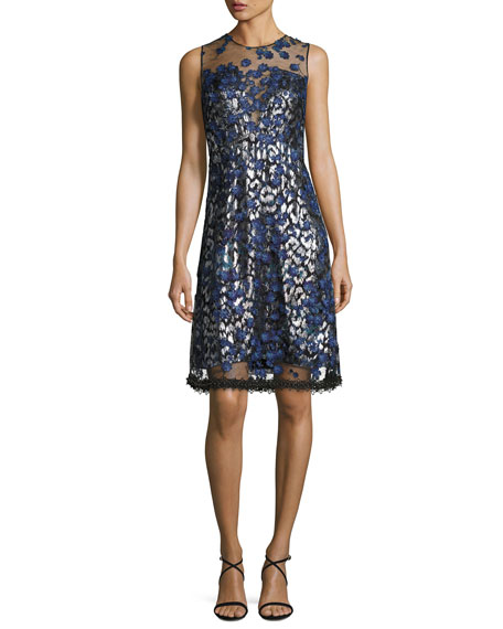 Elie Tahari Olive Sleeveless 3D Floral Appliqué Dress