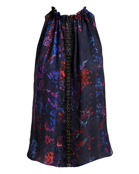 Bessie Sleeveless Floral-Print Blouse, Violet