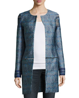 Jaya Embellished Brocade Topper Coat