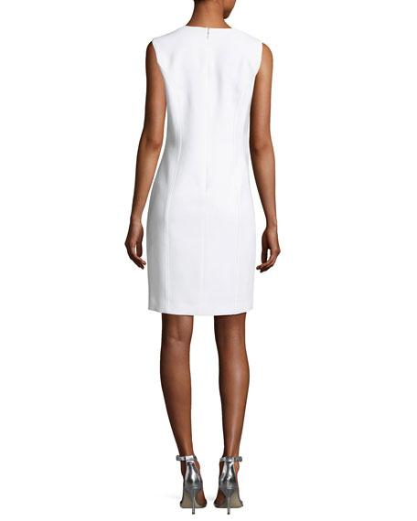 Monica Sleeveless Grommet-Trim Sheath Dress