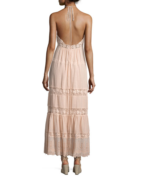 Eyelet Sleeveless Maxi Dress, Pink