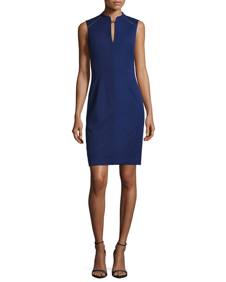 Elie Tahari Michelle Sleeveless Embellished Sheath Dress