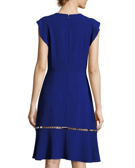 Rachel Ruffle-Trim Silk Dress