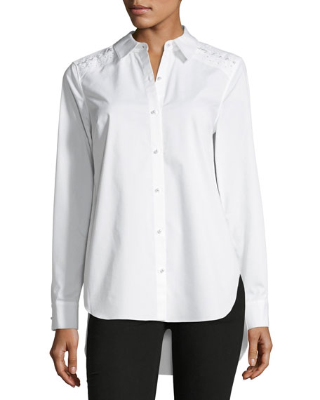 Alina Long-Sleeve Button-Front Blouse w/ Pearlescent Trim