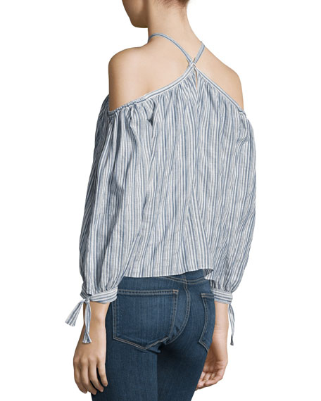 Off-the-Shoulder Stripe Cotton Top, Multi