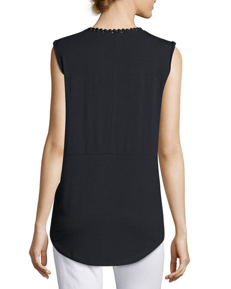 Harley Sleeveless Feather-Trim Knit Top