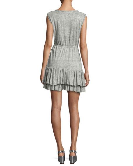 Short-Sleeve Tiered Jersey Tank Dress, Gray