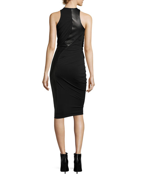 Leather & Jersey Sleeveless Draped Cocktail Dress, Black