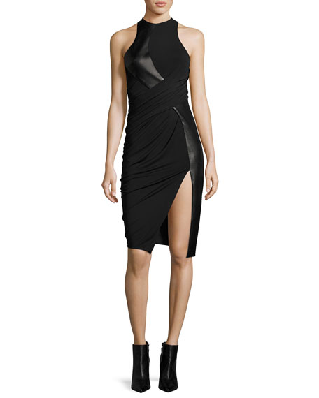 Alexander Wang Leather & Jersey Sleeveless Draped Cocktail