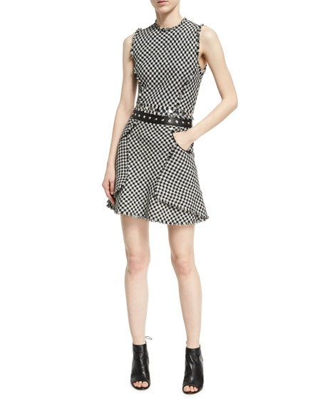 Alexander Wang Fringed Check A-Line Dress, Black/White