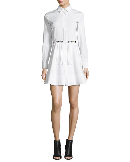 Button-Trim Long-Sleeve Cotton Shirtdress, White