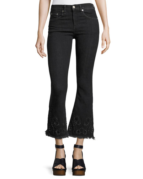 High-Rise Crop Flare Denim Jeans, Black