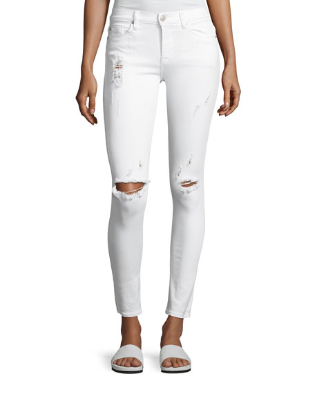 Hudson Nico Mid-Rise Super Skinny Distressed Jeans, White