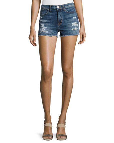 Soko High-Rise Cutoff Jean Shorts, Indigo