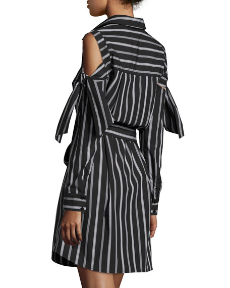 Riley Cold-Shoulder Striped Cotton Shirtdress, Black