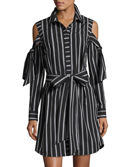 Milly Riley Cold-Shoulder Striped Cotton Shirtdress, Black