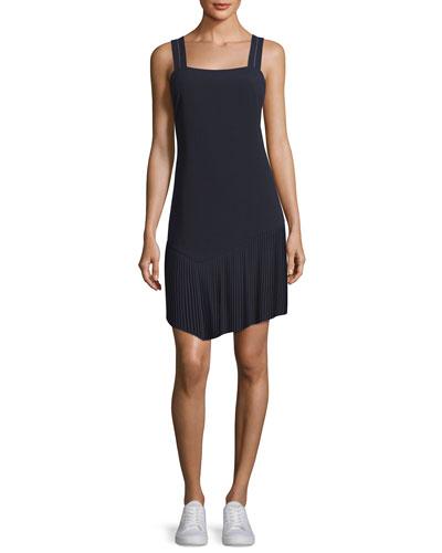 Tank Dress w/ Asymmetric Pleated Hem, Midnight