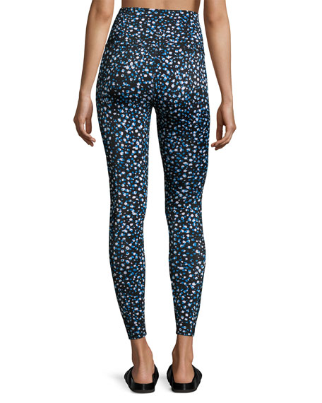 Lux Droplets Print Ladder Midi Legging
