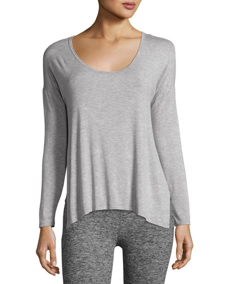 Side Piece Heathered Pullover Sweater, Light Gray