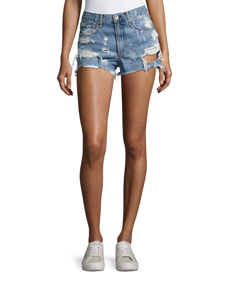 Justine Destroyed Denim Shorts, Indigo