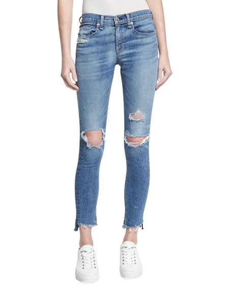 rag & bone/JEAN Low-Rise Distressed Denim Jeans, Indigo