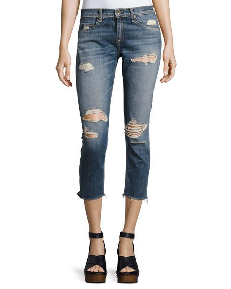 rag & bone/JEAN Dre Capri Distressed Denim Jeans,