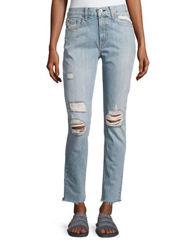 Marilyn Distressed Straight-Leg Jeans, Union Pool