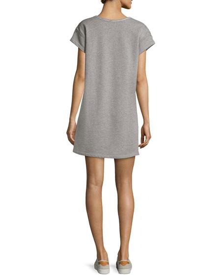 Eyelet Short-Sleeve Tee Cotton Dress, Gray