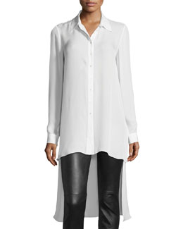 The Caravan Silk High-Low Blouse, White