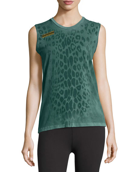 FREECITY Leopard Goldenline Sleeveless Tee, Green
