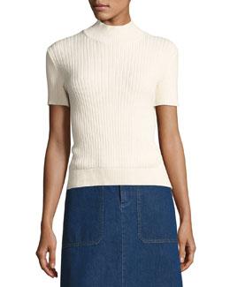 Mina Ribbed Short-Sleeve Sweater, White