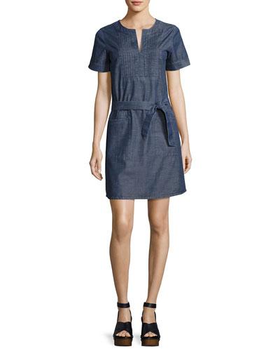 Jess Denim Tie-Waist Dress, Indigo
