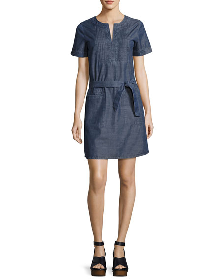 Jess Denim Tie-Waist Dress, Indigo