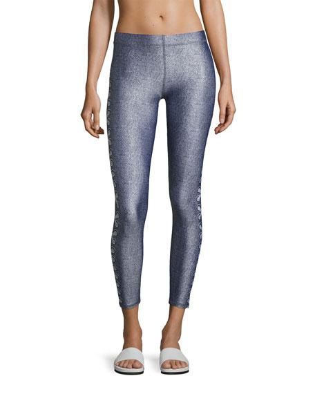 Side-Lace Denim Performance Leggings, Blue