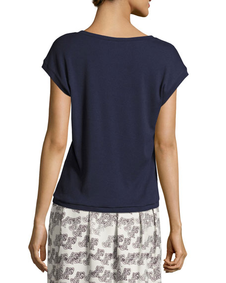 Marthe V-Neck T-Shirt, Navy