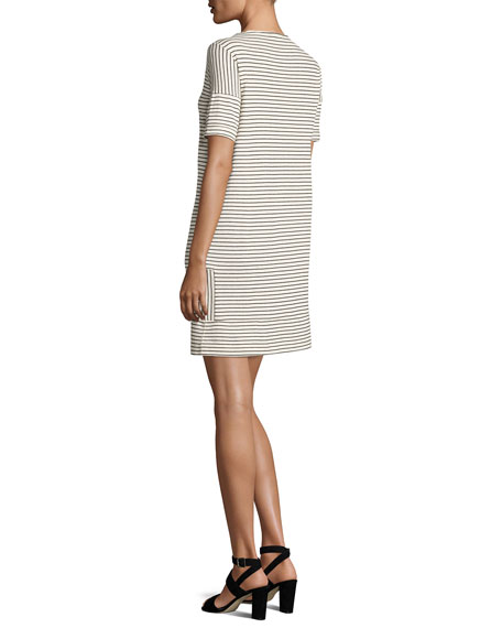 Mauricia Striped Short-Sleeve Shift Dress, Gray