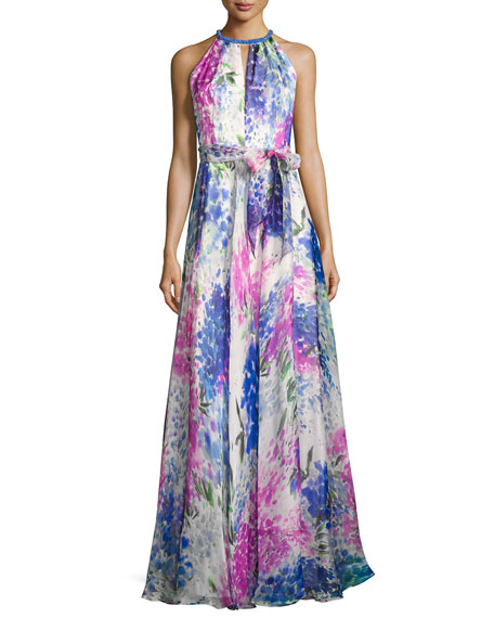 Sleeveless Abstract Floral Silk Gown, Blue