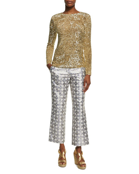 Cropped Medallion Jacquard Pants, Yellow