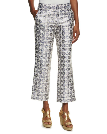 Tory Burch Cropped Medallion Jacquard Pants, Yellow