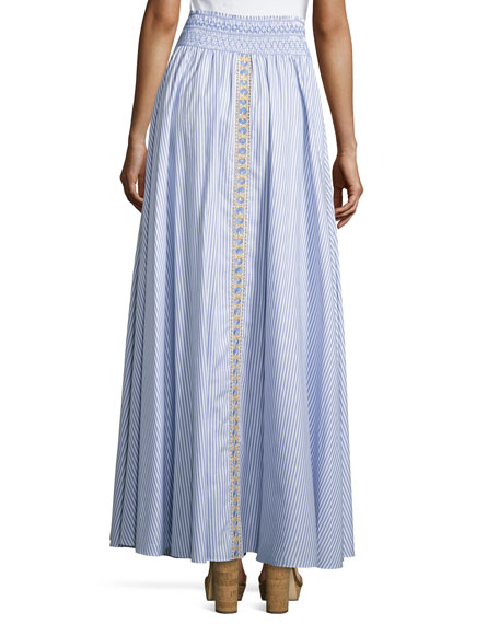 Embroidered Seersucker Maxi Skirt, White