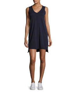 Jersey Raw-Cut Trim Tank Dress, Black