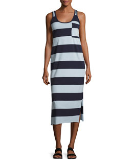 Striped Mercerized Jersey Dress, Blue Pattern
