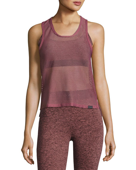 Koral Activewear Crescentic Open-Mesh Crop Top, Pink/Gold