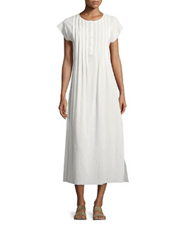 Gauze Pleated Maxi Dress, White