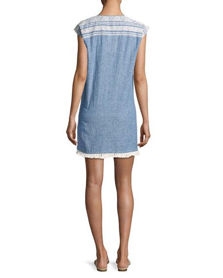 Natali Embroidered Mini Dress, Blue