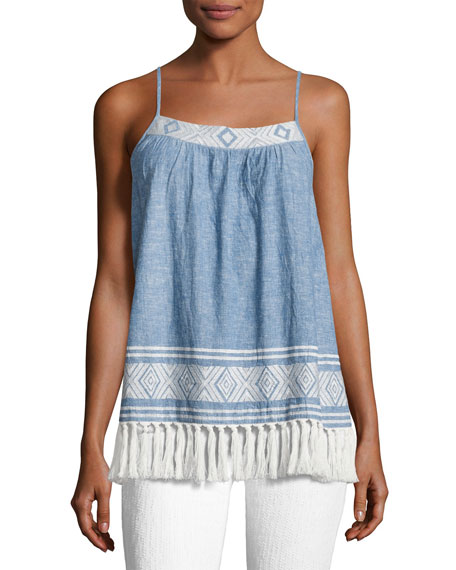 Agneza Embroidered Tassel-Hem Sleeveless Top, Blue