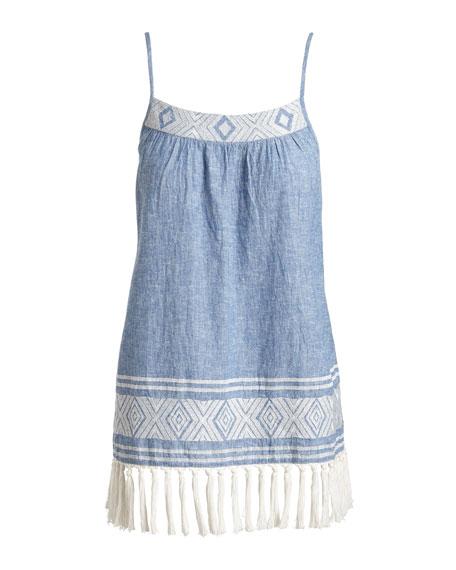 Agneza Embroidered Tassel-Hem Sleeveless Top, Blue