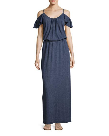 Jassina Cold-Shouler Maxi Dress, Blue