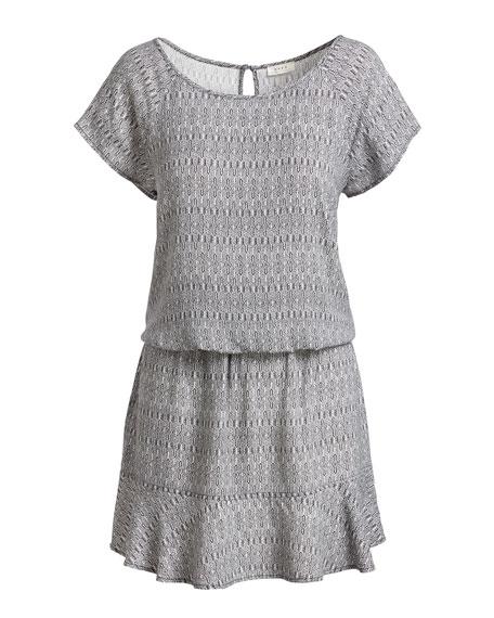 Quora Printed Blouson Dress, Black